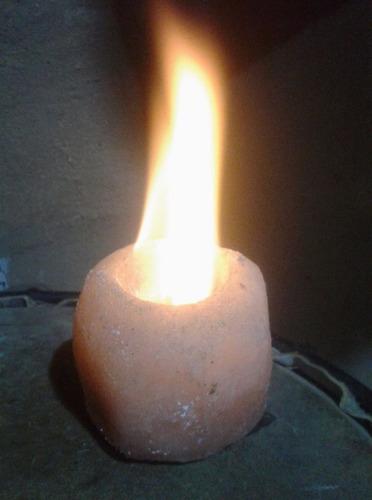lampara de sal del himalaya, con fogon a bioetanol.