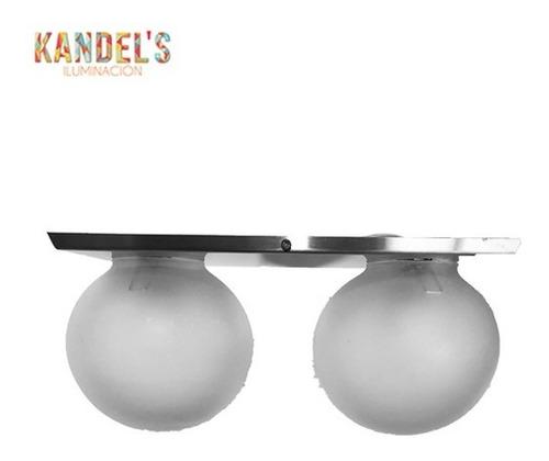 lampara de techo 2 esferas vidrio base de acero inoxidable