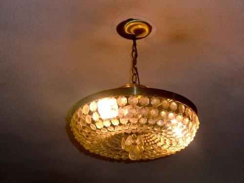 lampara de techo antigua con bronce y cristales