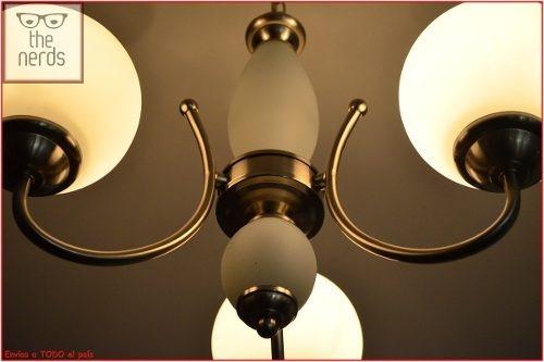lampara de techo colgante 3 luces vidrio niquel satinado