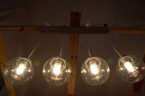 lampara de techo colgante 4 luces esfera 15cm varios colores