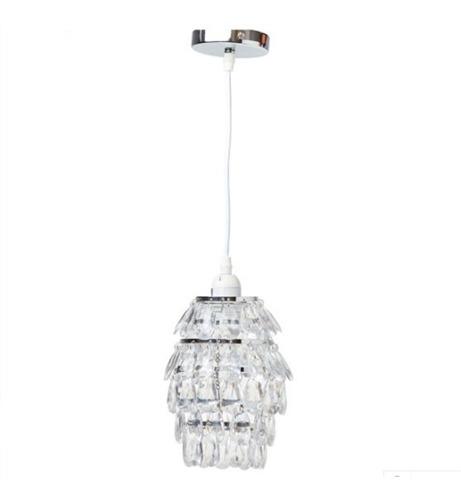 lampara de techo colgante caireles rosca e27 metal y acrilico 60w