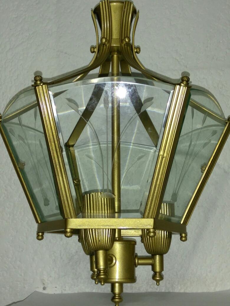 L mpara de techo color dorada 3 soquets cristal biselado - Lamparas de cristal de colores ...