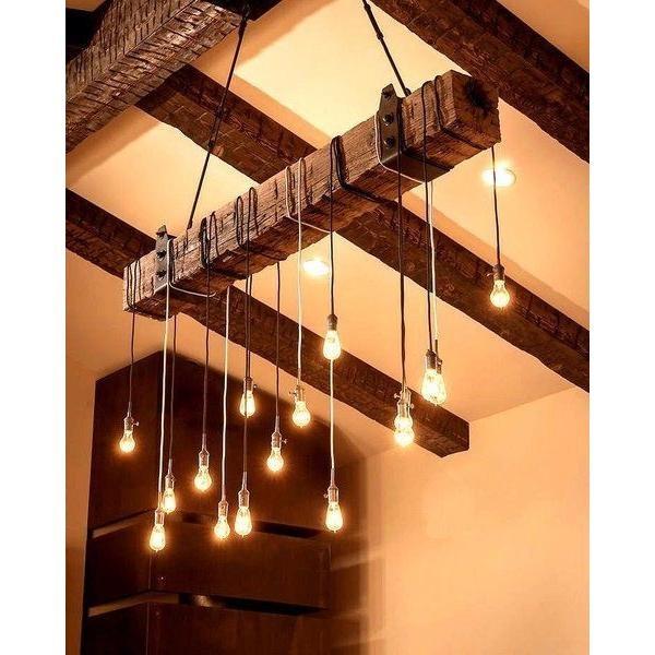 Lampara de techo vintage viga de madera 180cm env o - Lamparas para techos con vigas de madera ...