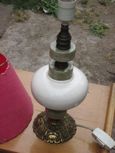 lampara de velador base de bronce preciosa 50 cmts. de alto