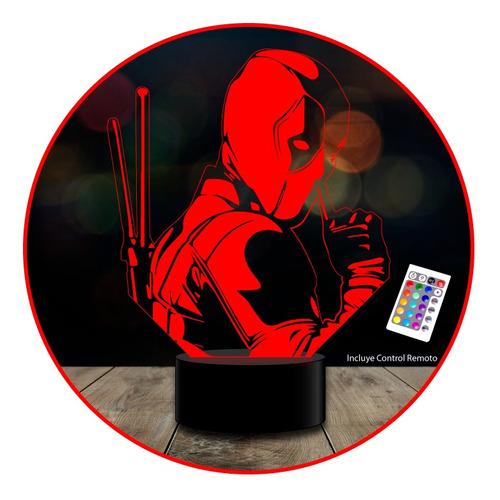 lámpara deadpool 3d acrílico 7 colores 1 intermitente