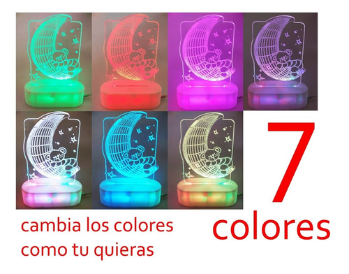 lámpara decorativa de figuras,  luz con 7 colores