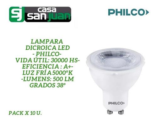 lampara dicroica led 7 w luz fría philco pack por 10 u 38º