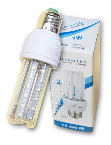 lampara efficient led 7w = 60 watts tubos ecologica cuotas