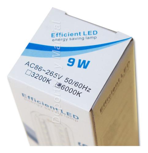 lampara efficient led 9w = 70 watts tubos bajo consumo eco