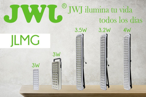 lampara emergencia led 3.2w smd 63 leds recargable 48 cm jwj