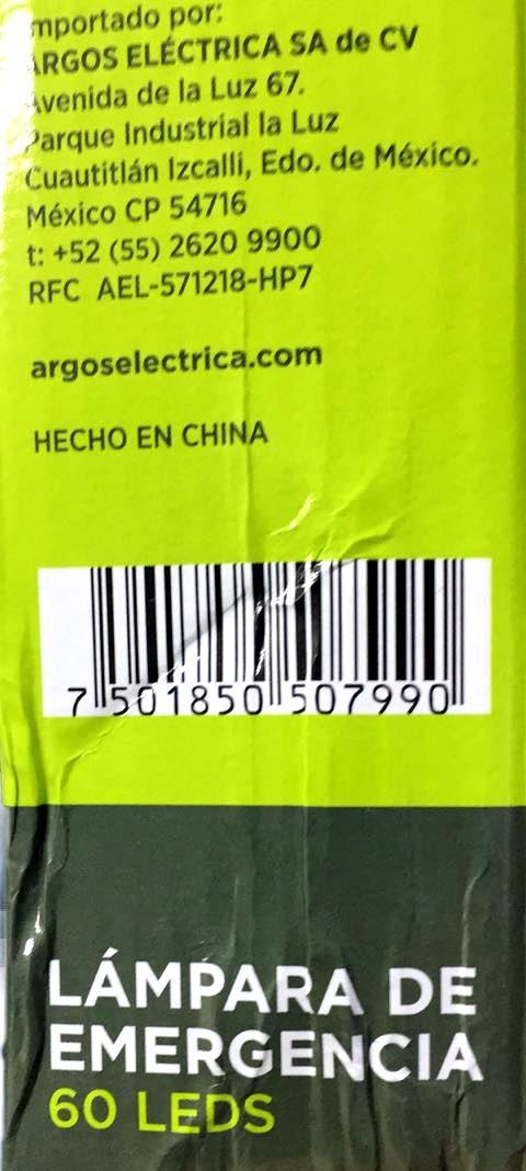 Lámpara Emergencia Led Recargable Argos - $ 270.00 en Mercado Libre