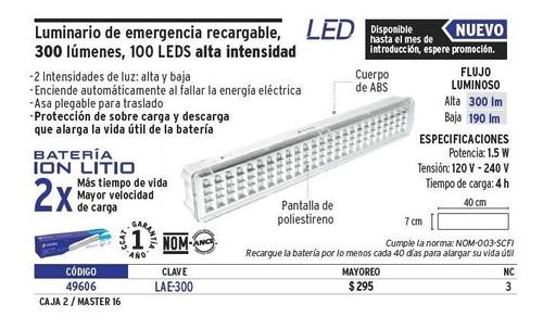 lampara emergencia recargable 100 leds voltech 49606