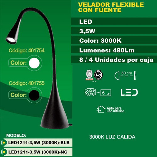 lampara escritorio led 3.5w 1211 interelec 3 intensidades
