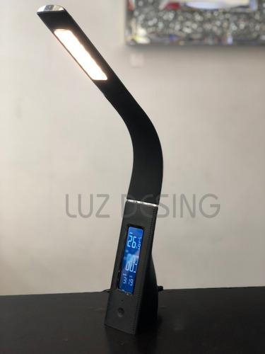 lampara escritorio led moderna touch reloj boston negro usb
