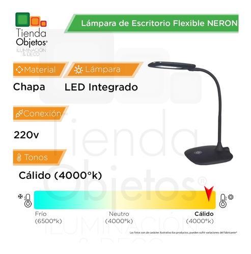 lampara escritorio modernos neron led 4w flexible cuotas