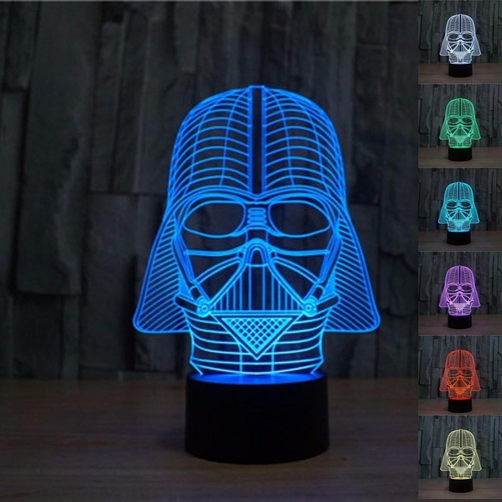 Lampara Escritorio Star Wars Darth Vader 3d Ilusion Optica