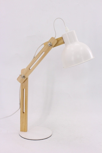 lampara escritorio velador mesa serena madera blanco candil