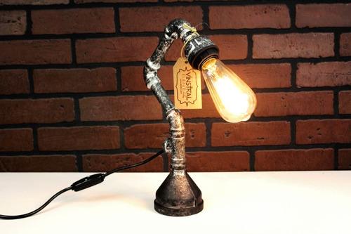 lámpara escritorio vintage retro industrial plata antiguo