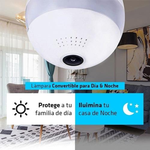 lampara espia led camara hd360° sensor grabador 64gb premium