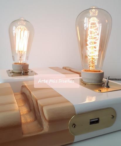 lampara estilo vintage con foco alic y usb
