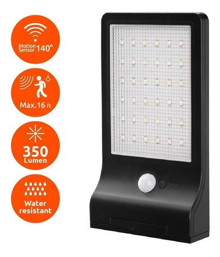 lampara exterior panel solar sensor movimiento 36 led ip65