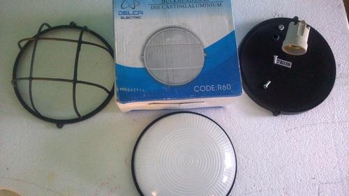 lampara exterior redonda rejilla 60w con socate  negra e-27