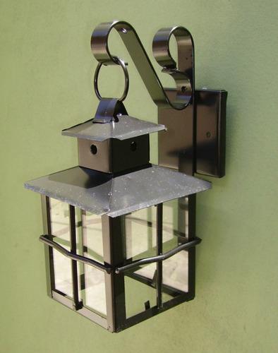 lampara farol artesanal jardin pared hierro inox n1 led