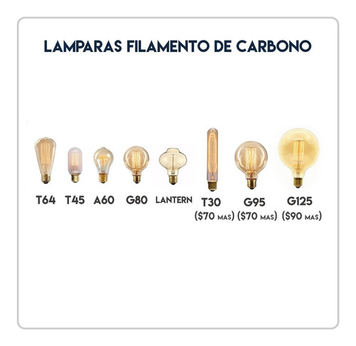lampara filamento carbono t64 pera multifilamento carbon
