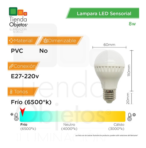 lampara foco bulbo led 8w 9w e27 220v sensor movimiento fria
