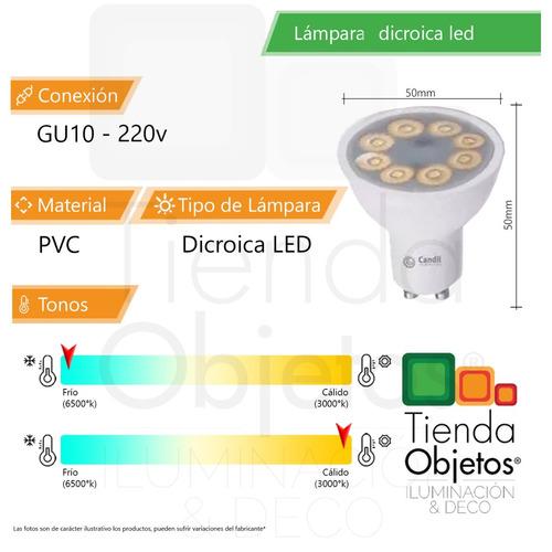 lampara foco dicroica led candil 7w 30°/100° gu10 220v