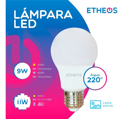 lampara foco led 9w = 75w e27 pack x 1 unidad etheos
