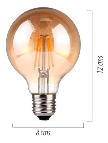 lámpara foco led deco vintage 4 filamentos blanco ambar