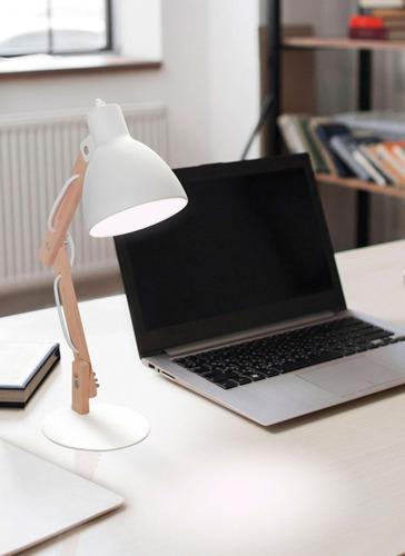 lampara genk negro velador de mesa escritorio madera led