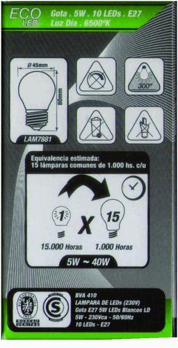 lámpara gota eco led 5w luz día e27 alic