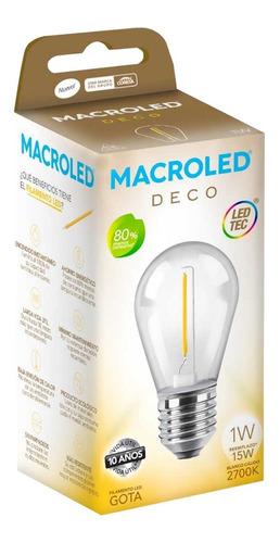lampara gota led vintage filamento macroled 1w = 15w e27 calido frio