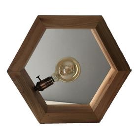 Lámpara Hexagonal De Mesa, Velador ,colgante Madera Foco Led
