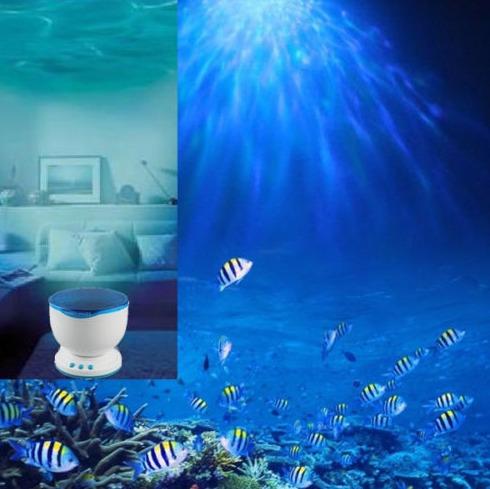 lampara holograma fondo del mar . relajante