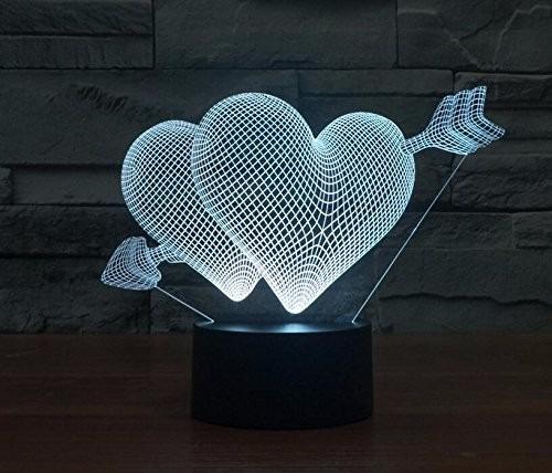 lampara ilusion optica led visualizacion en 3d corazones