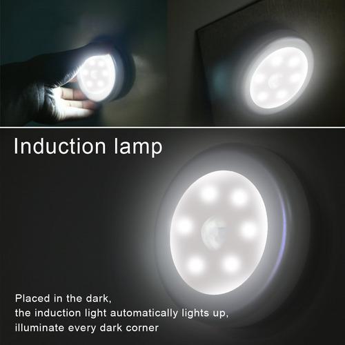 lampara inalambrica baterias sensor movimiento 6 leds