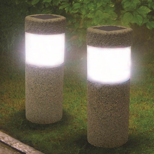lampara jardin solar decorativa abs apariencia concreto