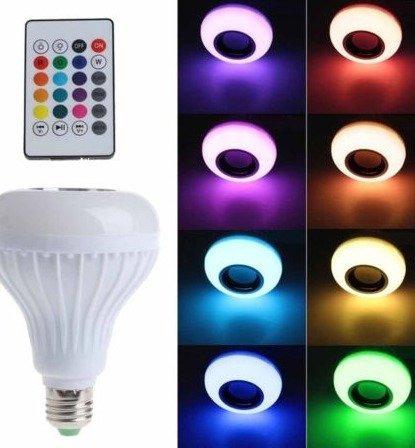 lampara led 10w rgb control desde celular parlante bluetooth