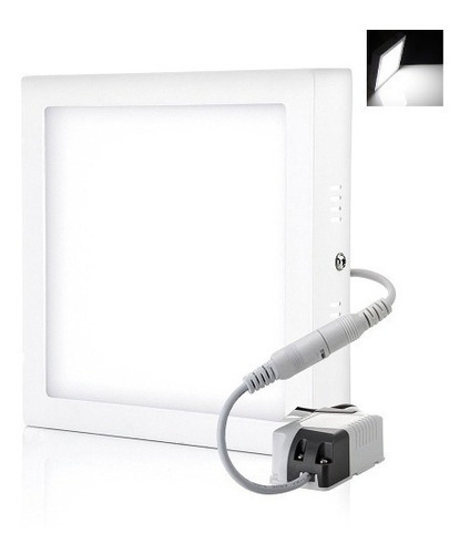 lampara led 12w superficial cuadrada luz blanca- alto brillo