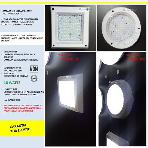 lampara led 18w focos luces casas oficinas baños redondo