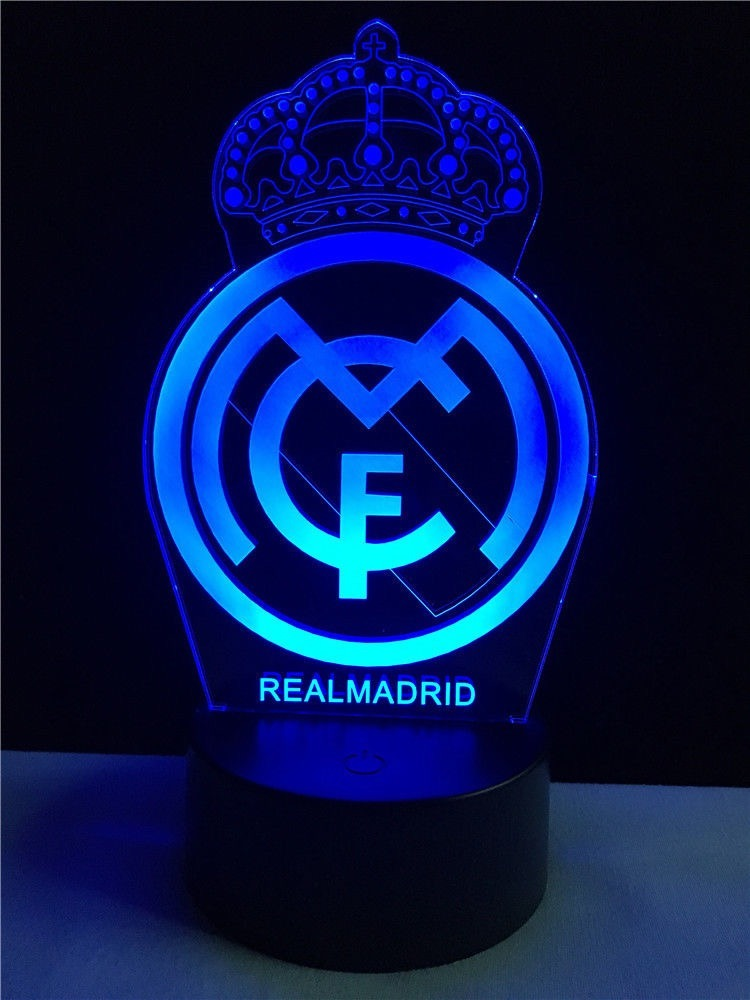 Lampara Led 3d Acrilico Real Madrid Env O Gratis 549