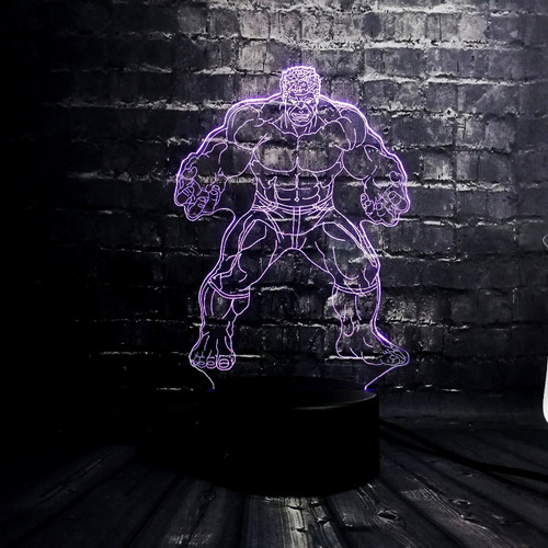 lampara led 3d tipo holograma marvel hulk 7 colores touch