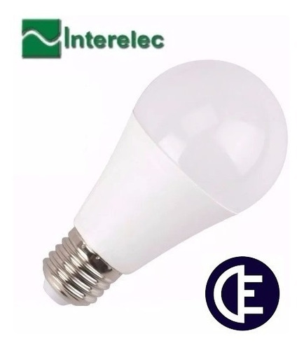 lampara led 9w a60 e27 luz fria interelec x 10unid