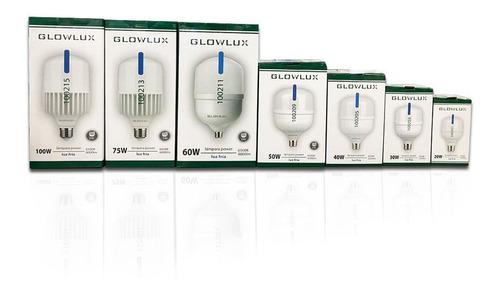lampara led alta potencia 40w fría e27 - glowlux -