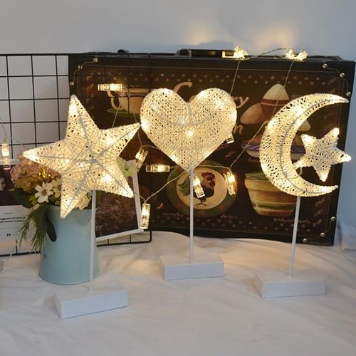 lámpara led blanco cálido hilo rattan diseño decoracion