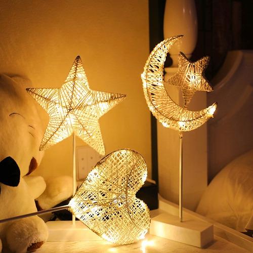 lámpara led blanco cálido hilo rattan estrella luna corazón